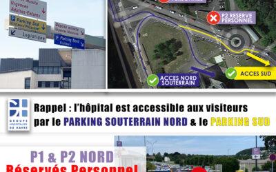 Pour rappel : les parkings extérieurs au NORD sont réservés exclusivement au personnel du GHH